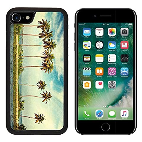 MSD Premium Apple iPhone 7 iPhone7 Aluminum Backplate Bumper Snap Case Vintage retro hipster style travel image of palms at Kerala backwaters with grunge texture overlaid Kerala India IMAGE (Kerala South India)
