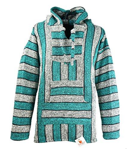Funny Guy Mugs Premium Baja Hoodie Sweatshirt Pullover Jerga Poncho (Green Hornet, X-Large