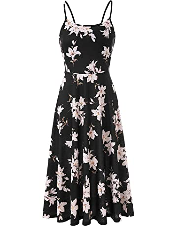 CHBORCHICEN Women s Summer Backless Shoulder Straps Adjustable Casual  Floral Printed Flared Swing midi Dresses a05059a41