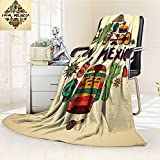 AmaPark Digital Printing Blanket Mexican Symbols Viva Mexico Ornate Historic Heritage Civilization Summer Quilt Comforter