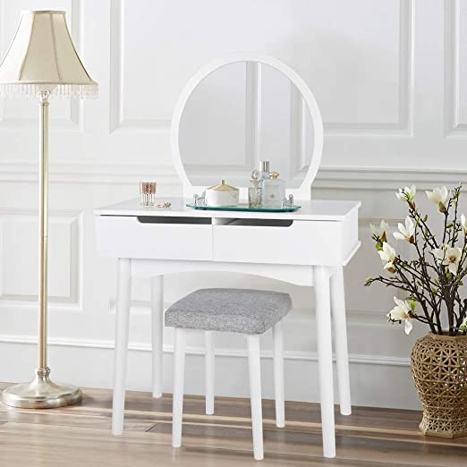 White Vanity Table Set with Large Stool, Modern Makeup Dressing Table with  Round Mirror and 2 Sliding Drawers