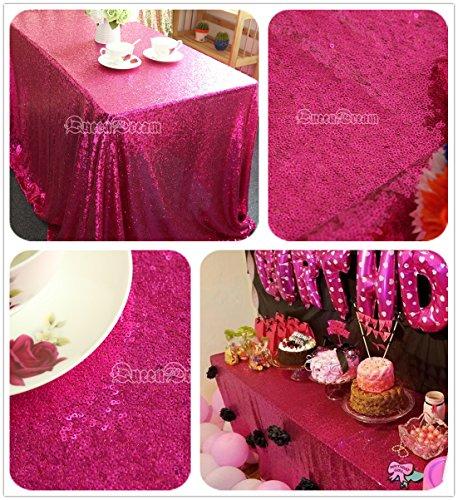 QueenDream 90''X132'' Rectangle Sequin Tablecloth-Fushia - Pink Rectangle