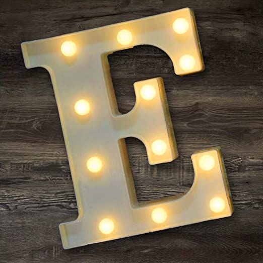 YOEEN LED Marquee Letter Lights Sign Light Up Letters Battery Powered Alphabet Letters for Wedding Birthday Party Christmas Night Light Home Bar Decoration (E)