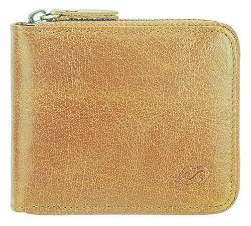 Men's Leather Zipper Wallet RFID Blocking Zip Around Wallet Bifold Multi Card Holder Purse (Dark khaki)