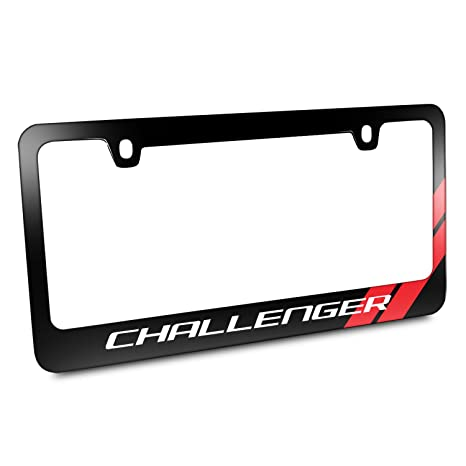 Amazon.com: Dodge Challenger Red Stripe Black Metal License Plate ...
