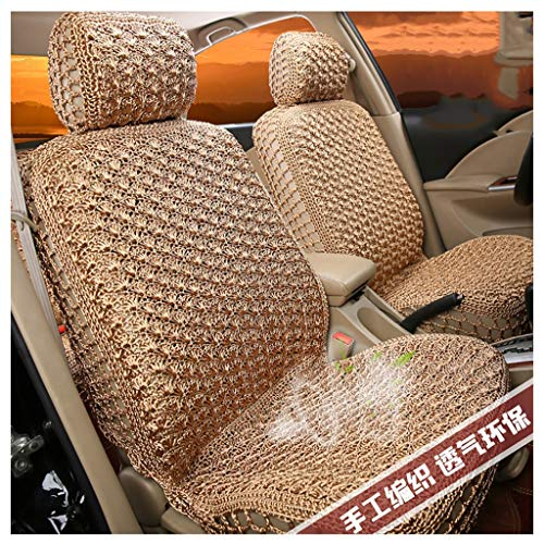X-14 5 Car Seat Covers Full Set,Cushion Massage Cool Mat Pad Handmade Ice Silk Fit for Toyota(Gold Full Set) (Size : Avalon)