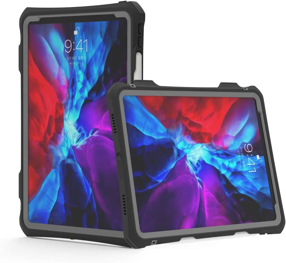 """iPad Pro 11 2020 Case - Waterproof iPad Pro 11-inch 2nd Generation Case Full Body Protection Bumper Case for iPad pro 11 Case 2020 11"""" Shockproof Anti-Scratch with Strap Stand Pencil Holder"""