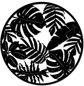 Metal Leaves Wall Art Decor Rustic Tropical Palm Leaf Decorations Sculpture for Home Living Room Indoor Outdoor Decorations