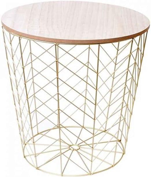 Mesa auxiliar de diseño – Cesta de metal dorada con tapa de madera ...