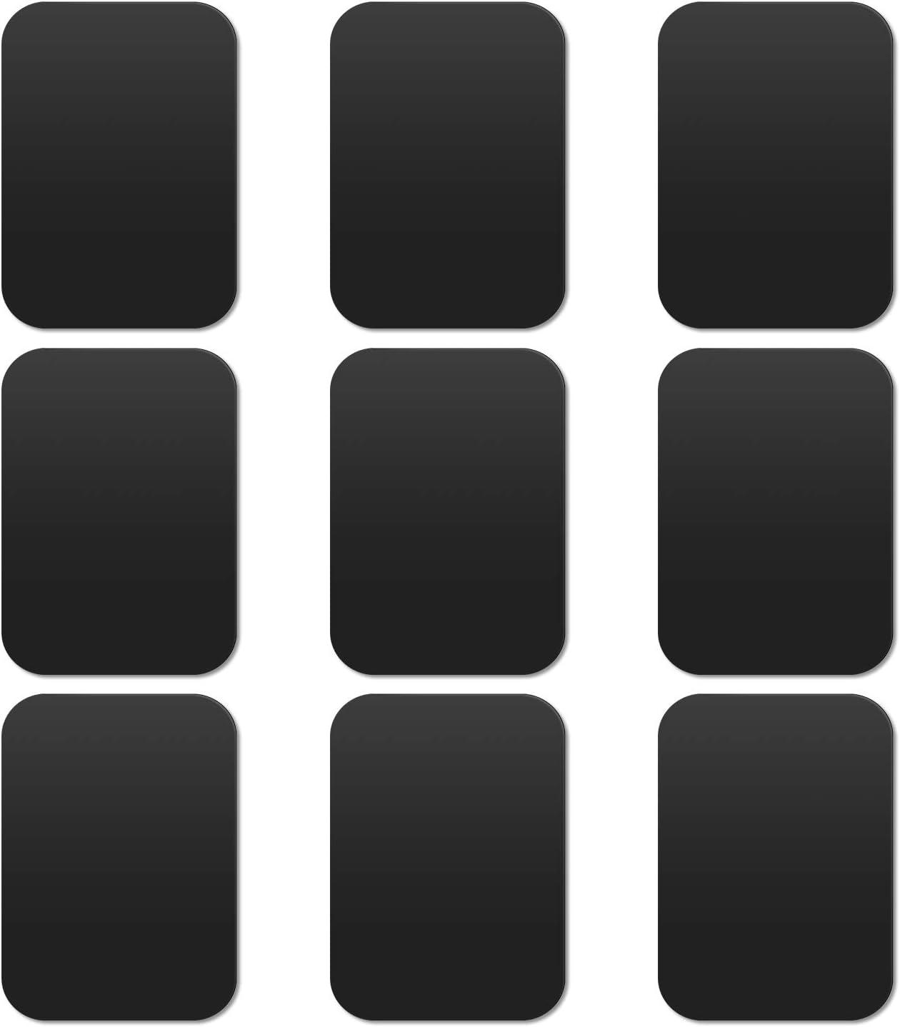 MOSUO 9 Piezas Láminas Metálicas (9 Rectangulares) Muy Finas Placas Metálicas con 3M Adhesivo para Soporte Movil Coche Magnético/Iman para Movil Coche y Otros Productos de imán - Negro