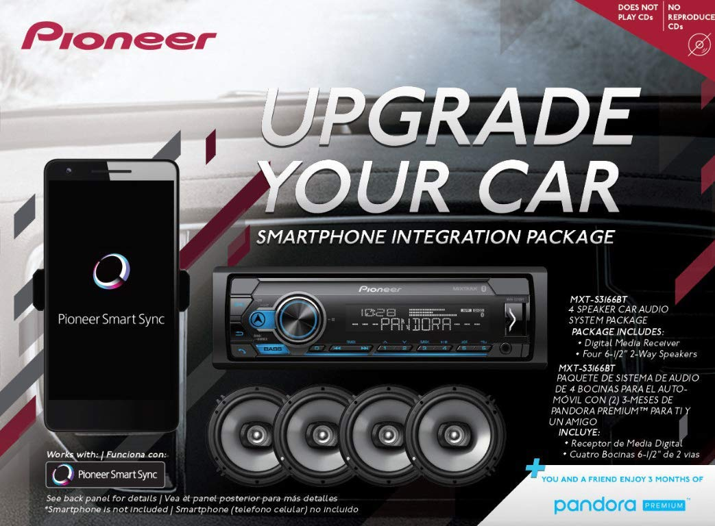 Pioneer MXT- S3166BT Digital Media Receiver 4 6.5 2 Way Speaker Bundle with Pandora Premium Trial