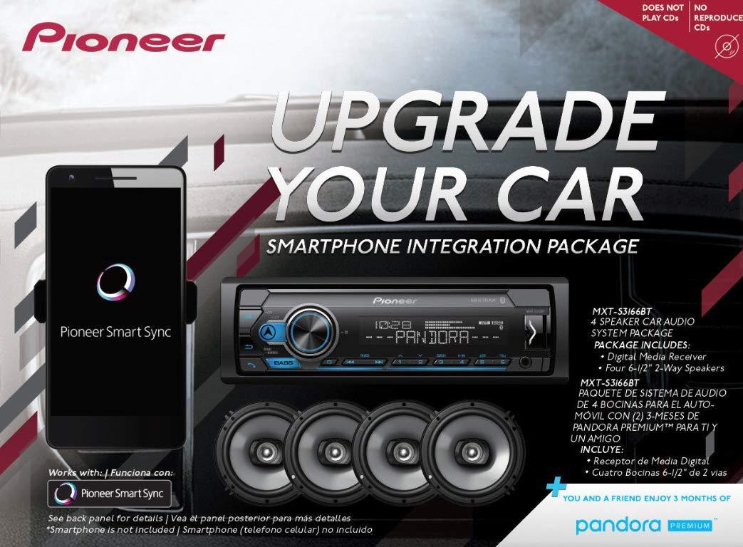 Pioneer MXT- S3166BT Digital Media Receiver + (4) 6.5'' 2 Way Speaker Bundle with Pandora Premium Trial by PIONEER (Image #3)