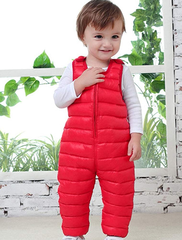 Odziezet Baby Winter Overall Pants Girl Boy Down Padded Suspender Trousers Warm Dungarees 0-4 Years