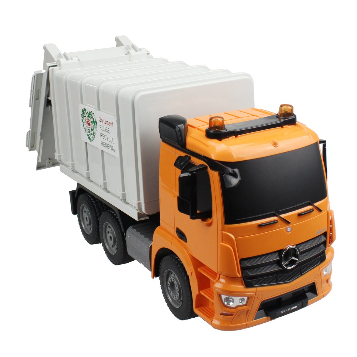 Hugine Rc Garbage Truck Mercedes Benz Authorized 24g 10 Channel Dump Off Road Music Remote Control 14 Cm Rubbish Collector Recycle Sanitation Cars Construction Vehicle Toys