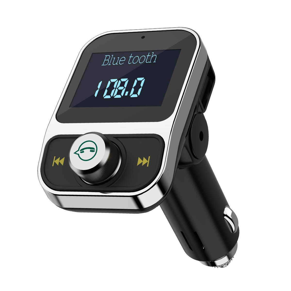 Criacr Bluetooth FM Transmitter, AUX Output, Wireless in-Car FM Transmitter Truck Radio Adapter Car Kit, 3.1A Dual USB Charging Port, CVC Noise Reduction, Hands-Free Call (Silver)