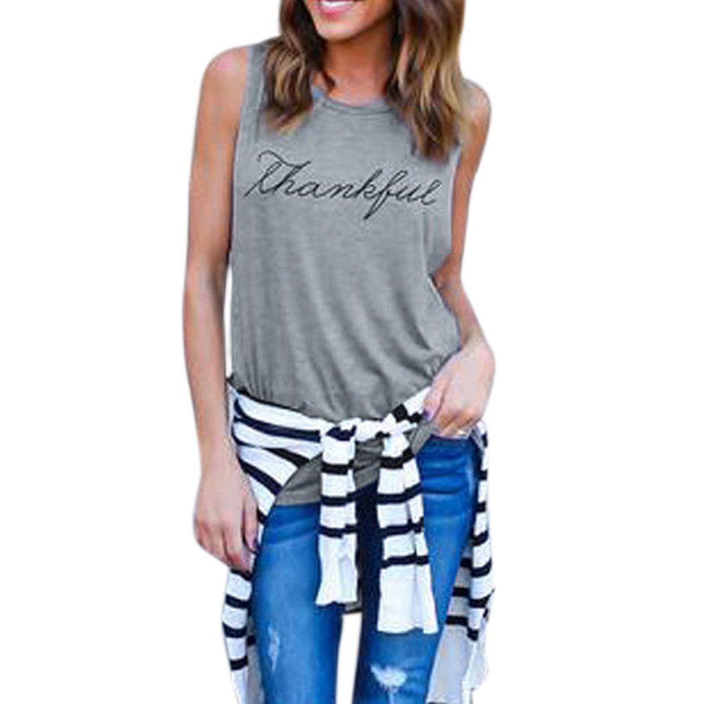 Women's Crop Tops Vest, BOLUBILUY Print Letter Sleeveless Tank Cotton Top O-Neck Pure Color Blouse Loose Fit T-Shirt