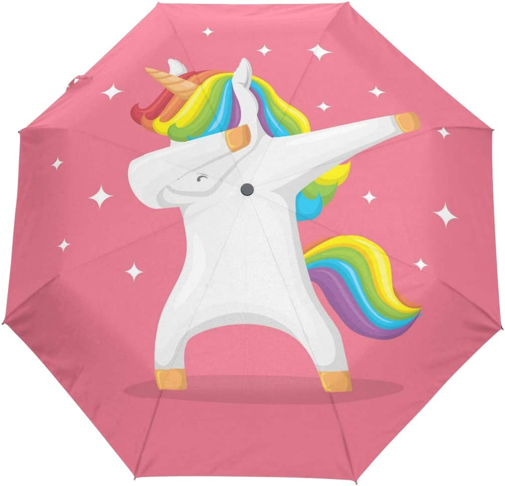 Cute Unicorn Seamless Pattern Background Compact Travel Umbrella Windproof Reinforced Canopy 8 Ribs Umbrella Auto Open And Close Button Personalized