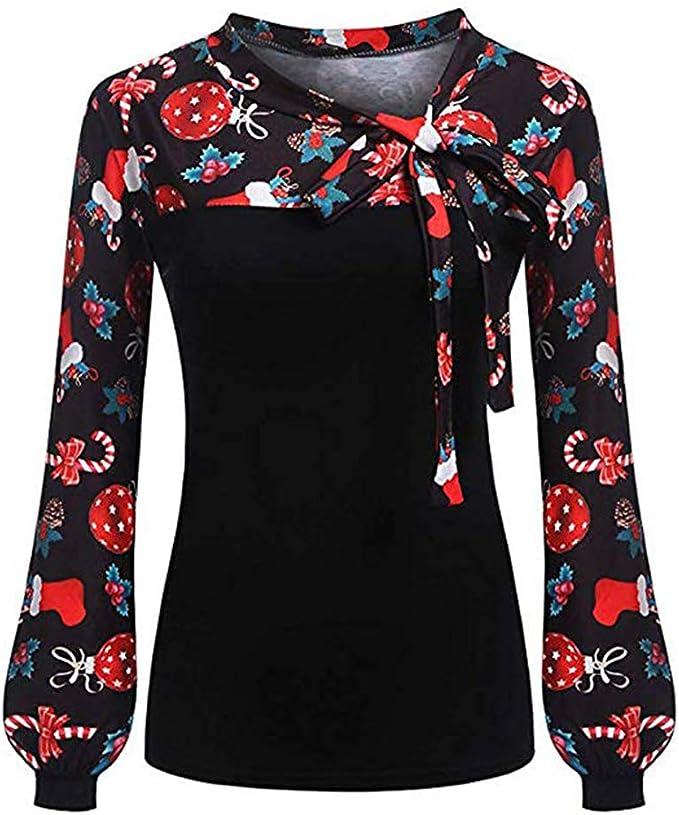 Blusa de Mujer con Estampado Navideño Corbata Lazo en el Cuello ...