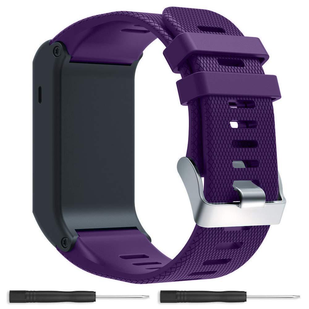 Banda de Repuesto para Garmin Vivoactive HR GPS Reloj Inteligente, silicona Bandas de Fitness con cierres de metal pulseras de repuesto para Garmin ...