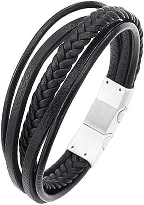 Heure & Minutes - Bracelet All Blacks - Cuir noir - Multifils