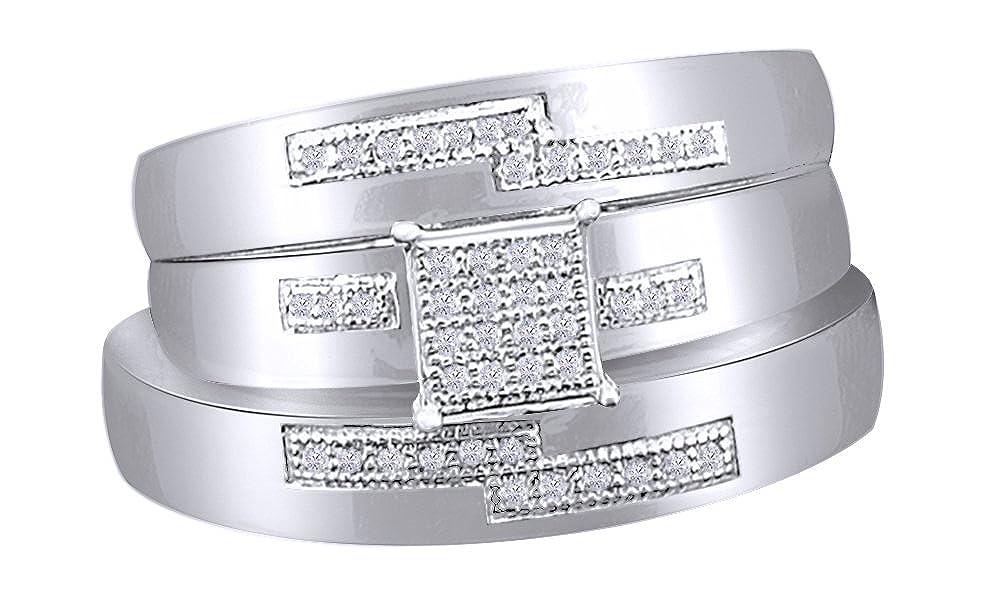 18K WeiãÿerGoldetes Silber 49 (15.6) AFFY Zirkonia Verlobung und Hochzeit, Mode-Ring in 18 ct verGoldet, Sterling-Silber (0.25 cttw)