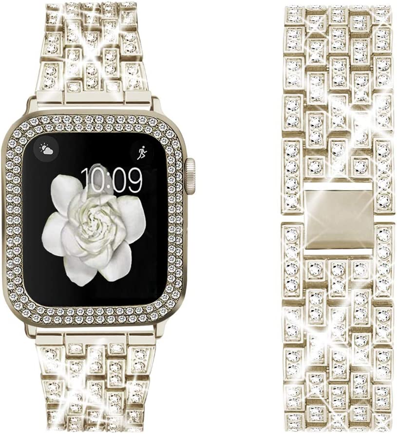 Bekomo [3-pack] Compatible for Apple Watch Band 38mm with Rhinestone Protective Cover,1pack Women Girls Bling Diamond Metal Strap & 2pack Soft PC Bumper Protective Clear Case for iWatch Series 3/2/1