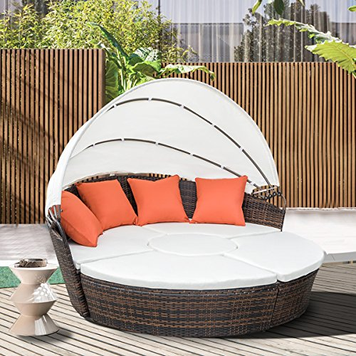 Cheap  Leisure Zone Outdoor Patio Backyard Poolside Furniture Wicker Rattan Round Daybed Retractable..