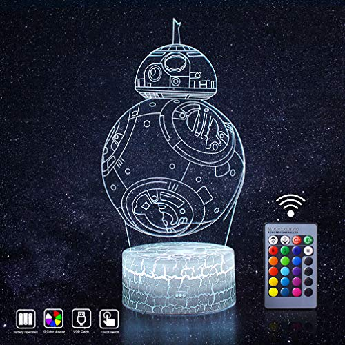 Star Wars Night Light 3D Optical Illusion LED Lights Remote Control and 16 Colors Display Lamps Novelty Gadget Decor Best Xmas Bday Thanksgiving Party Gift Ideas for Kids Fans(Sphero -