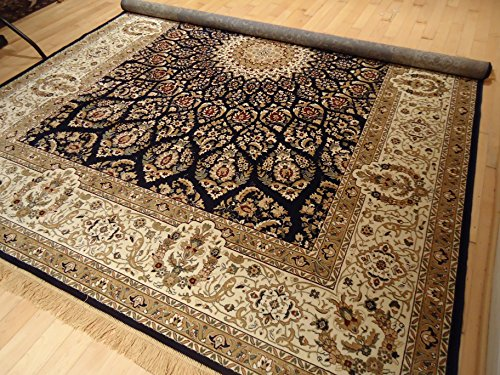 Silk Persian Area Rug Large 8x12 Navy Rug Dining Room 8x11 L
