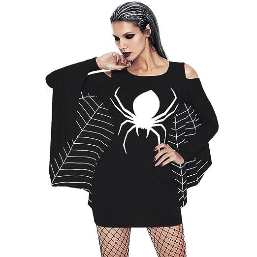 3cc99449e7 Amazon.com: LANSHULAN Womens Spider Printing Halloween Costumes Spiderweb Plus  Size Tunic Party Cosplay Dress: Clothing