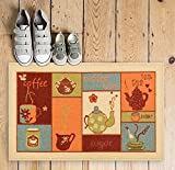 Coffee Themed Kitchen Rugs Non-Skid / Slip Rubber Back Antibacterial 18