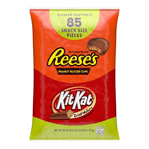 Reese's and Kit Kat Assorted Candy Snack Size Pieces, Milk Chocolate, 85 Pieces
