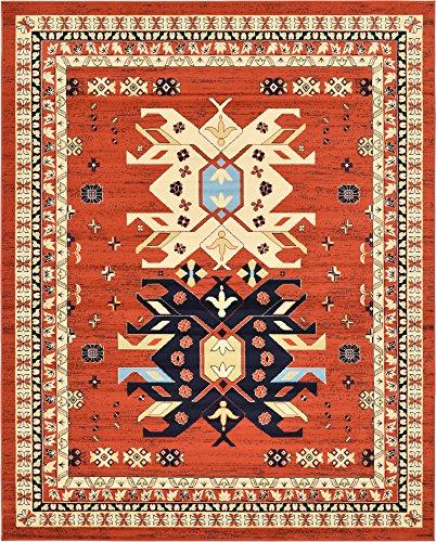 - Classic Traditional Geometric Persian Design Area rugs Orange 8' x 10' Qashqai Heriz rug