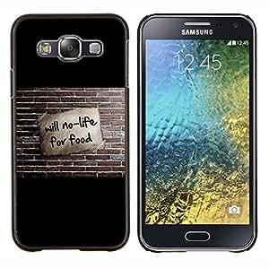 KLONGSHOP // Cubierta de piel con cierre a presión Shell trasero duro de goma Protección Caso - Will no es vida para la Alimentación divertido - Samsung Galaxy E5 E500 //