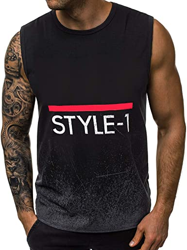 Men Sleeveless Tank Tops Vintage Skull American Flag Vest Workout Stringer Waistcoats