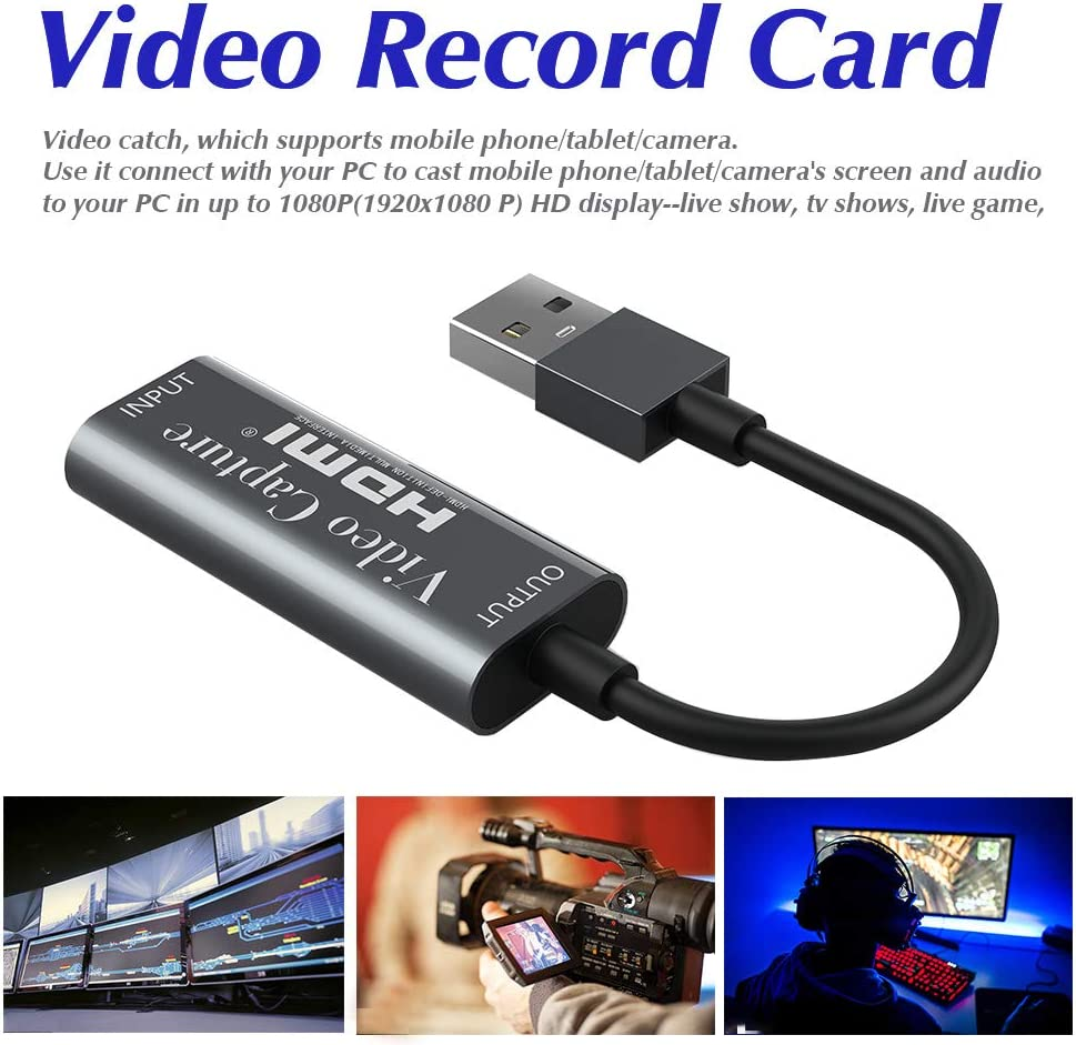 Tarjeta de captura de v/ídeo HDMI a USB Juego Captura Tarjetas 1080p USB2.0 HDMI Adaptador Audio Video Grabaci/ón Tarjetas Soporta Tel/éfono M/óvil//Tablet//C/ámara