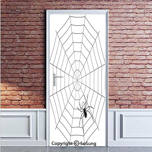 Spider Web Door Wall Mural Wallpaper Stickers,Toxic Poisonous Insect Thread Crawly Malicious Bug Halloween Character Design Decorative,Vinyl Removable 3D Decals 35.4x78.7/2 Pieces set,for Home Decor B]()