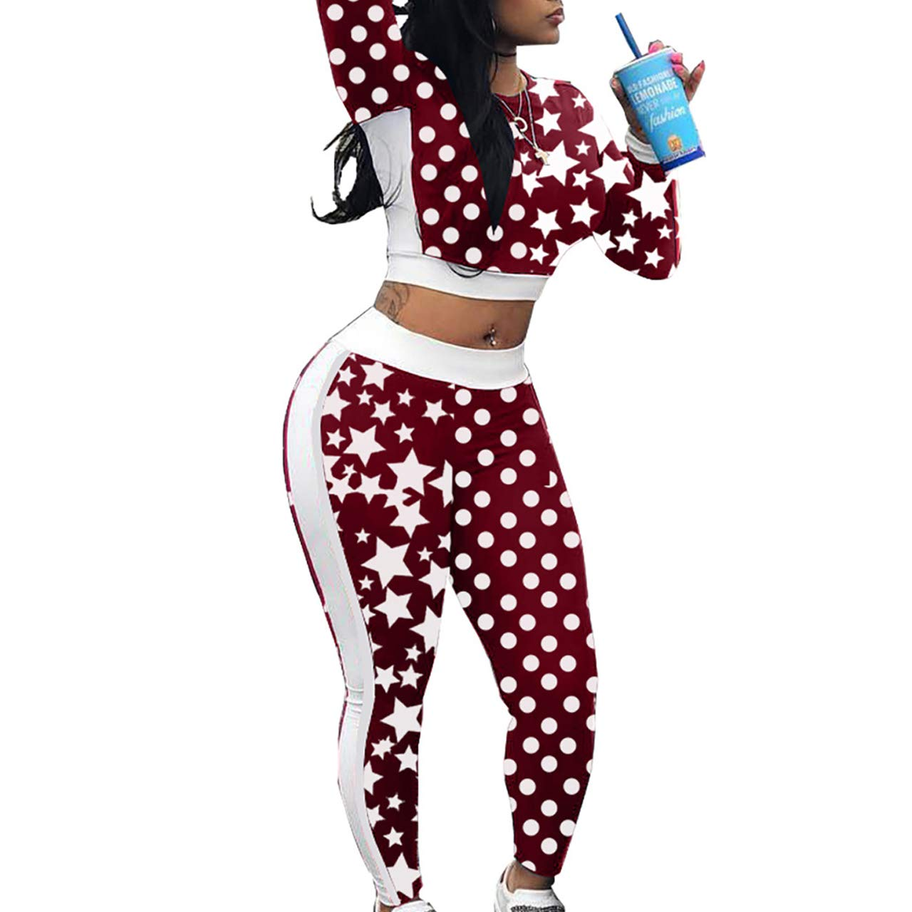 Womens Super Sport Long Sleeve Tracksuit Dot Star Printed Bodycon Crop Tops Skinny Jogger 2 Pieces Pencil Pants Set