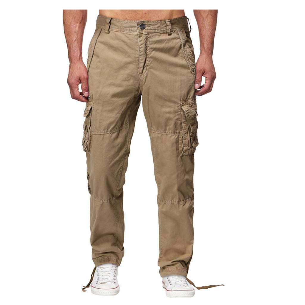Armfre Bottom Men's Khaki Cargo Joggers Pants Loose Fit Stretch Elastic Chino Trousers with Zipper 8 Packets Tapered Casual Workout Long Trousers by Armfre Bottom