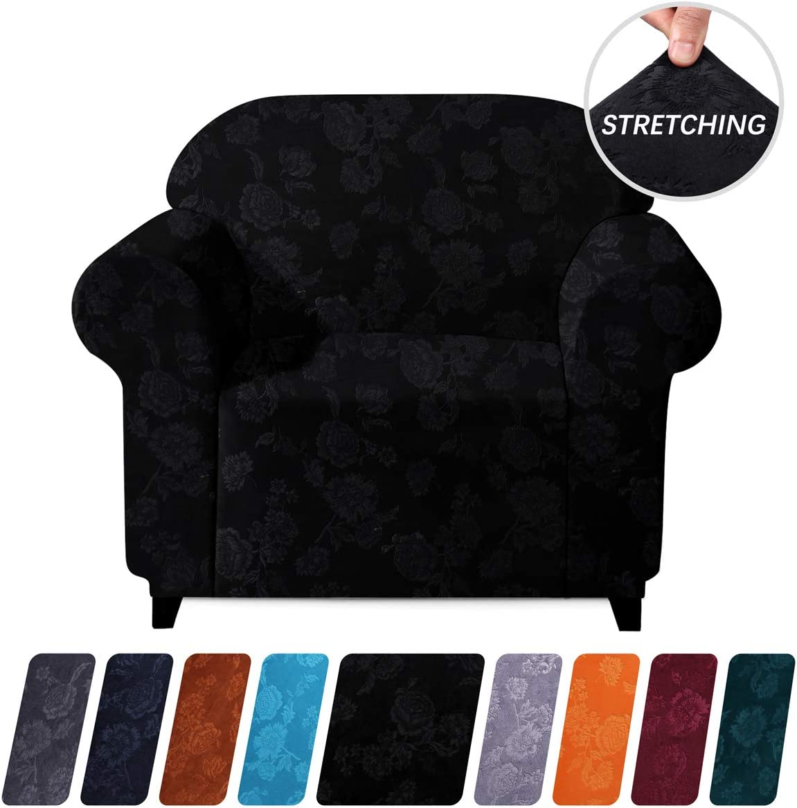 Colorxy 1-Piece Velvet Plush Stretch Sofa Cover, Machine Washable Spandex Furniture Protector, Embossing Flower Fabric Anti Slip Sofa Chair Slipcover with Elastic Bottom for Amrchair