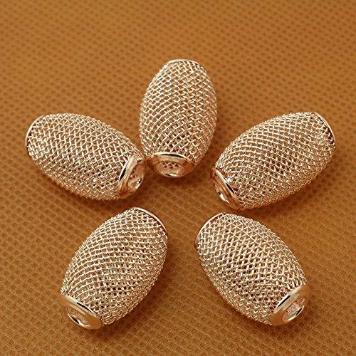 (FunnyPicker Approx 4Pcs/Lot Rose Gold Oval Shape Large Hole Mesh Net Metal Spacer Beads Fit European Bracelet 14x22Mm 4 pieces/lot)