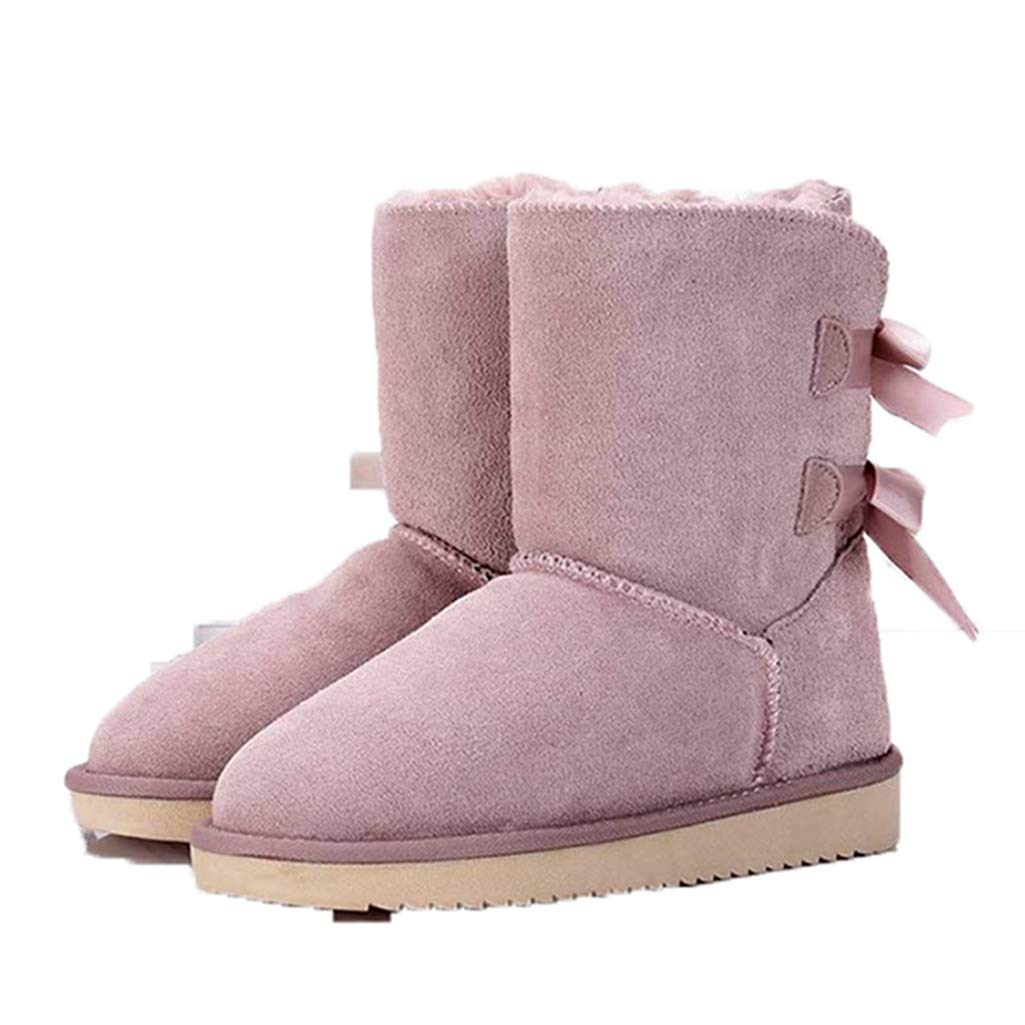 Pink Fay Waters Women's Classics Winter Snow Boots Genuine Leather Mid-Calf Warm shoes Outdoor Ankle Booties