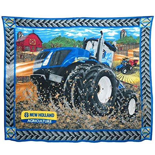 Sykel Enterprises Div. of Fabrique Innovations New Holland 4WD Farm / Barn Scene Fleece Blanket -