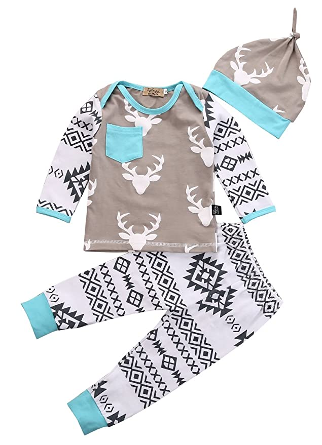 Amazon.com: Newborn Baby Girls Boy Deer Long Sleeve Tops T-shirt ...