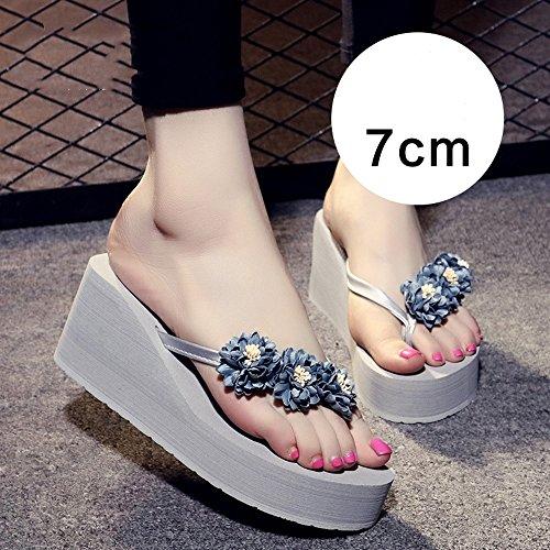 Azul Mujer MEIDUO verano sandalias de 7cm Zapatos cómodo Antideslizante Playa Zapatillas Mujer Marrón Zapatillas Zapatillas Claro blue Light Rosa Azul xrOnwqr4