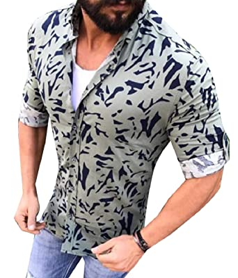 RDHOPE-Men Casual Floral Printed Shirt Long Sleeve Button Blouse Tops