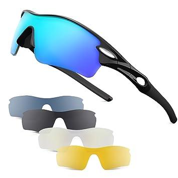 Patomos Gafas de Sol Deportivas polarizadas, con 5 Lentes Intercambiables para Hombres y Mujeres,