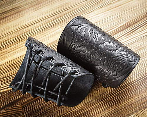 Viking Leather - Leather Cuff - Larp Gauntlet - Leather Wristbands - Larp Accessories Viking Bracers - Wolf Design - Archery Armguard - Length 5