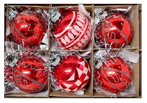 1960s Vintage Red Shiny Brite & West Germany Glitter Mica Mercury Glass Stenciled Christmas Tree Ornaments Lot of 6 ()