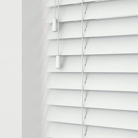 Real Wood Wooden Venetian Blinds 50mm Slats 180cm Width X 160cm Drop White String